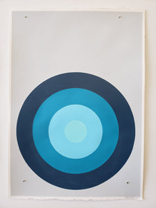 "Stephanie Henderson | Target Practice in Blue | 48"" x 35.75"" Framed"