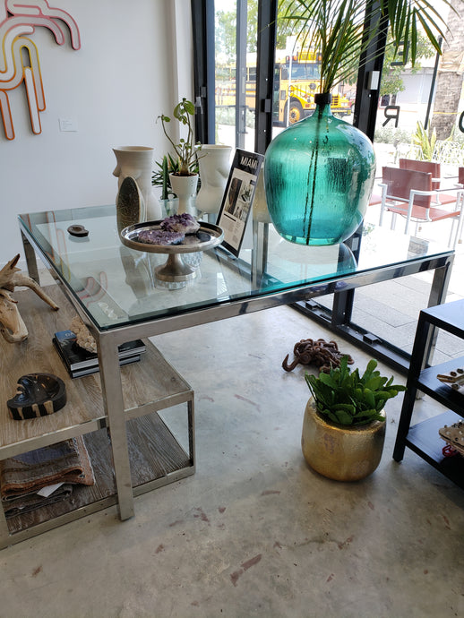 Chrome Vintage Square Dining Table