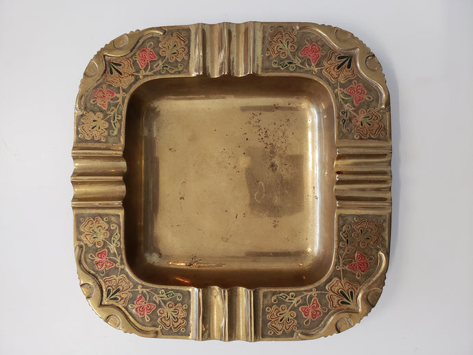 Vintage Brass Floral Ashtray/ Dish