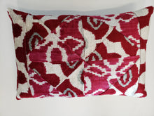 Pink & Cream Silk Velvet Ikat Lumbar Pillow