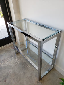 "Vintage Chrome & Glass Console Table | 13.5""w x 27.75"" h x 30""l"