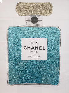 "Aqua Blue Glitter Perfume Bottle Art | 30""x30"" 