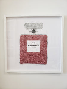 "Pink Glitter Perfume Bottle Art | 24""x24""