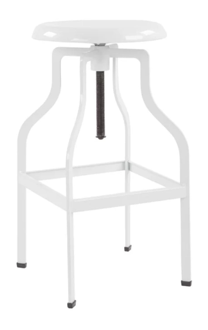 White Metal Swivel Counter Stool