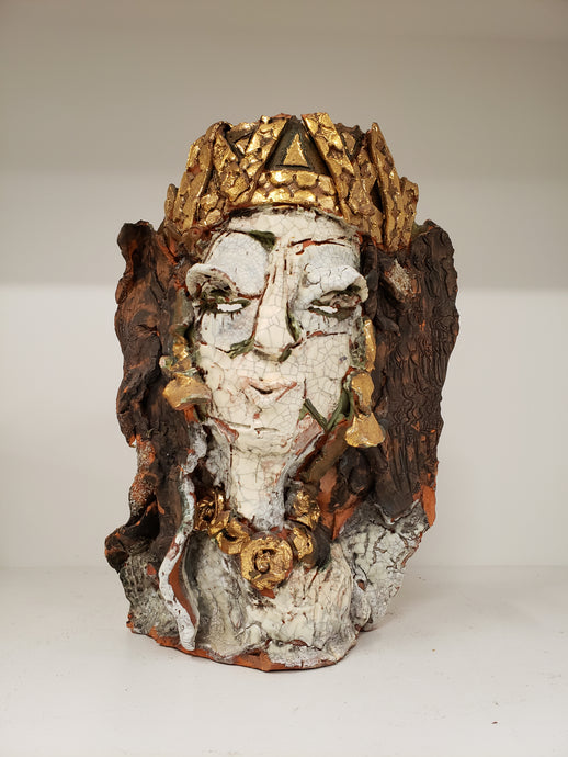 "Juanita May | Raku Face Scultpure with Gold | 9"" x 13"" x 3"""