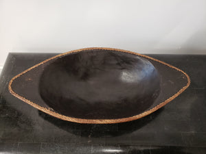 Wood Bowl with Rattan Edge