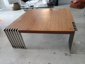 Chrome & Wood Modern Coffee Table | Vintage