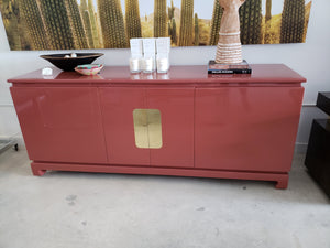 Vintage Dusty Pink Lacquered Ming Credenza