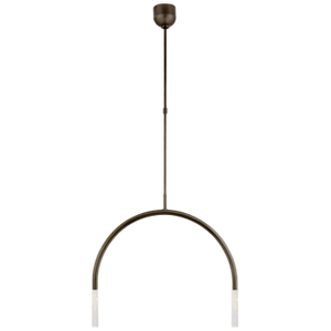 Rousseau Medium Linear Chandelier | Bronze with Etched Crystal | Kelly Wearstler