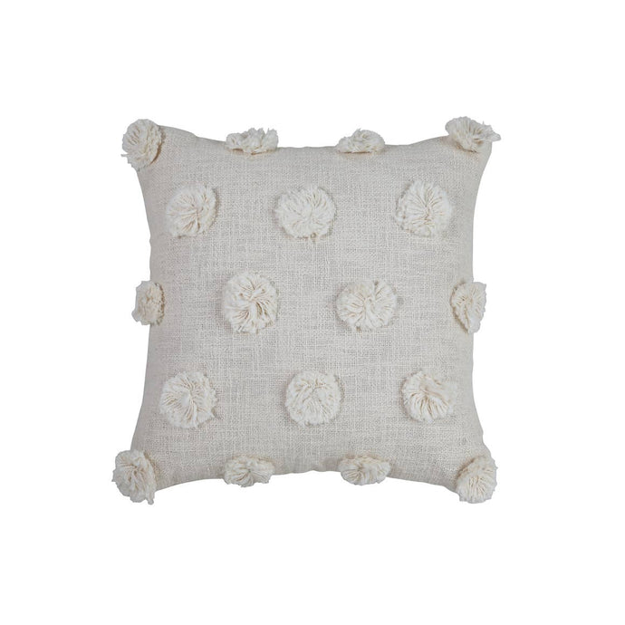 "Mia Pom Pom Cushion | Natural Off White | 17""x17"""