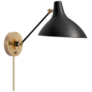Charlton Wall Light | Black & Hand-Rubbed Antique Brass | Aerin