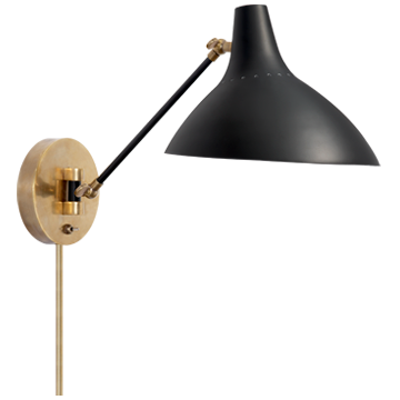 Charlton Wall Light | Black & Hand-Rubbed Antique Brass