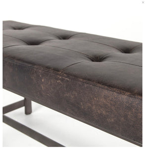 Narrow Leather Tufted Bench | Black Leather