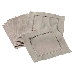 Hemstitched Cocktail Napkin | Taupe | Set of 4