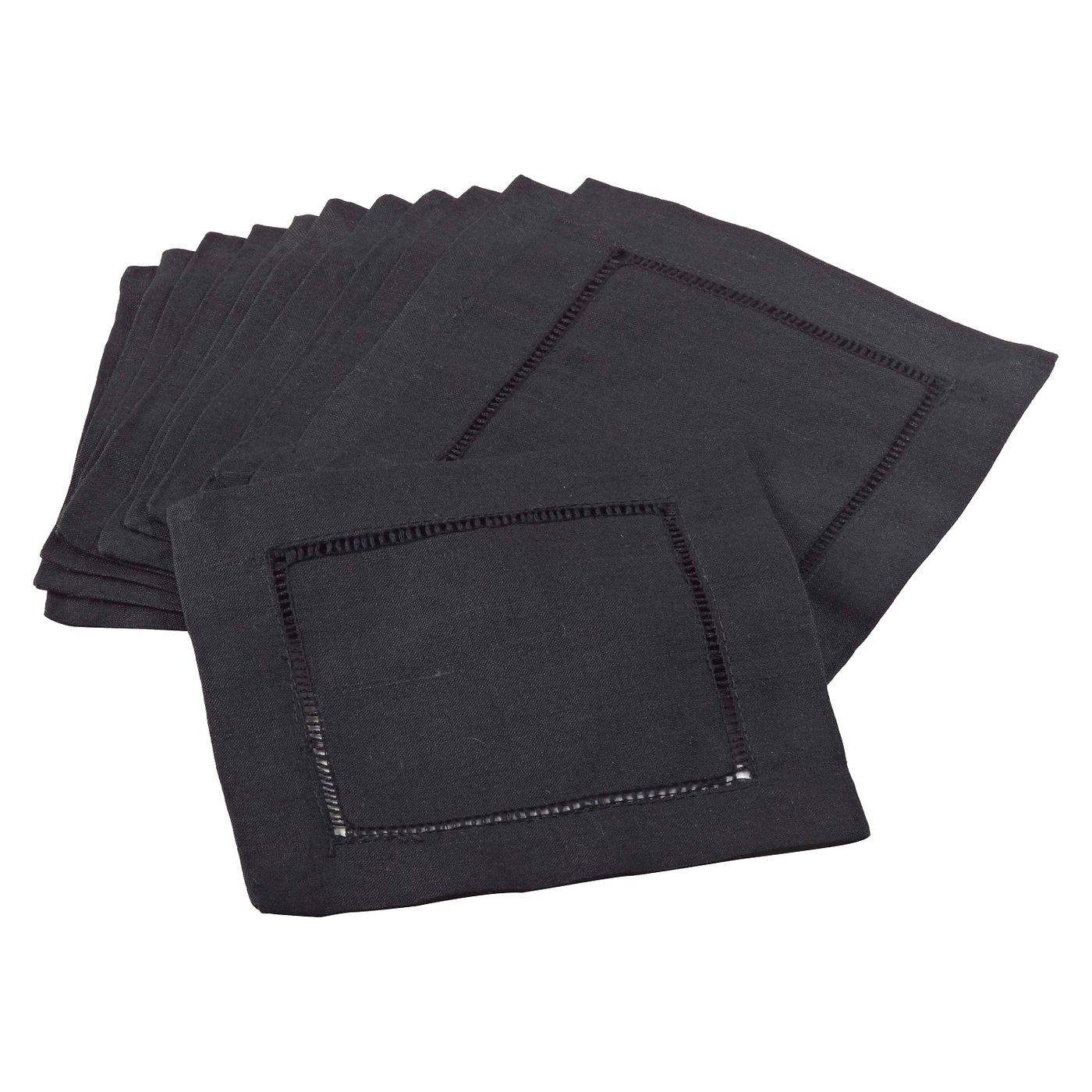 Hemstitched Cocktail Napkin | Noir | Set of 4