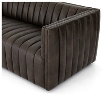 August Brown Leather Channeled Sofa