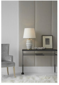 Phoebe Stacked Table Lamp | Antiqued White & Linen Shade | Kelly Wearstler