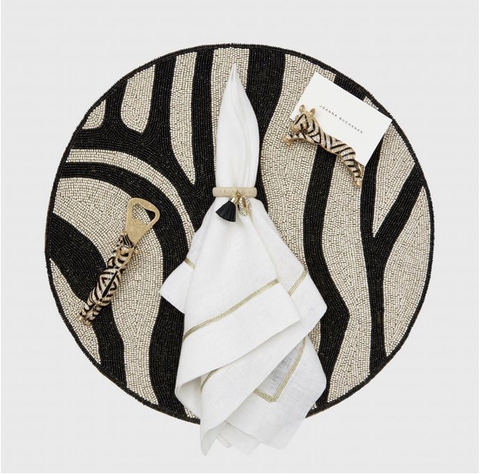 Zebra Placemat | Beaded | Black & Cream