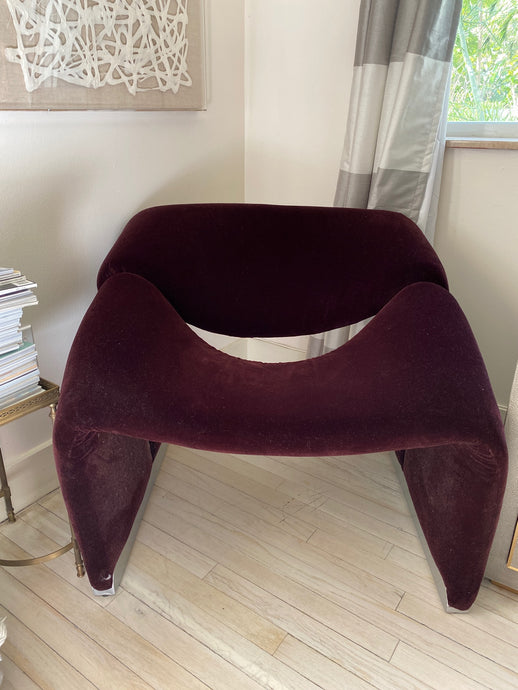 Pierre Paulin 1970's Groovy Chair | Oxblood Mohair New Fabric