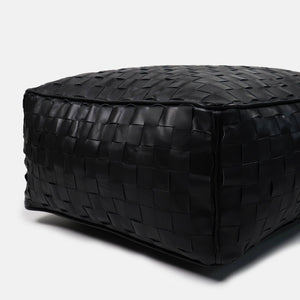 Leather Ottoman Dakota | BLACK Pouf
