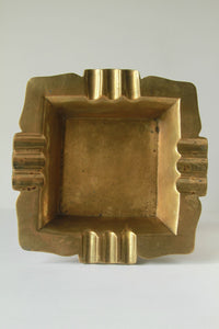 Square Brass Ashtray Vintage Large