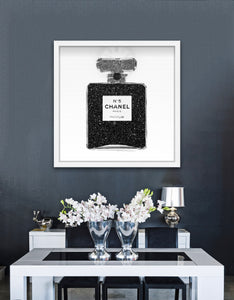 "Black Glitter Perfume Bottle Art | 30""x30"" 