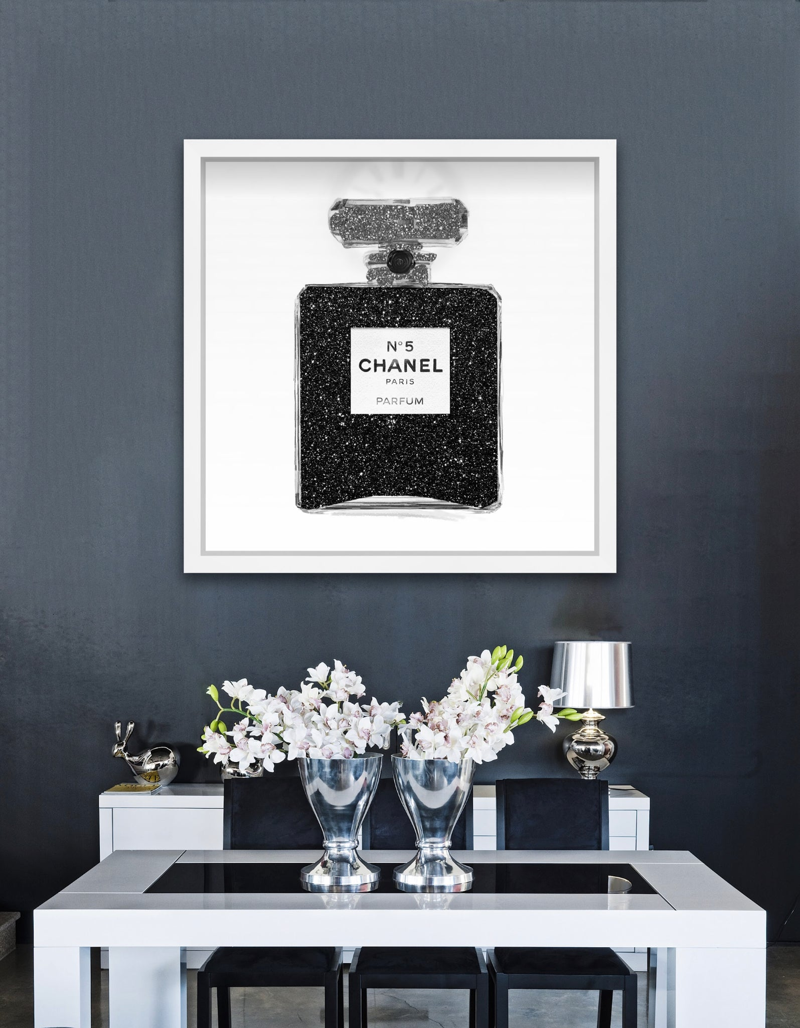 "Black Glitter Perfume Bottle Art | 24""x24"" 