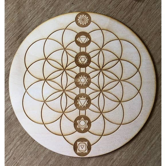 Flower of Life Chakras Crystal Grid | 10""