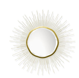 "White Beaded Coco Shell Sun Mirror 48"" round"