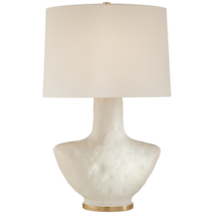 Armato Small Table Lamp in Porous White Ceramic with Oval Linen Shade | Kelly Wearstler