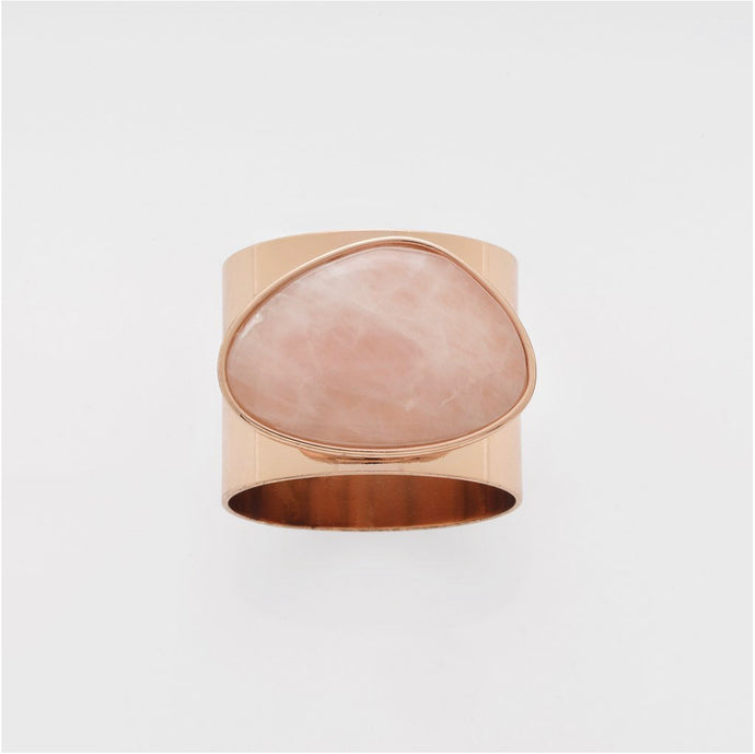 Gilt Edge Shell Napkin Rings | Rose Quartz | Set Of Two