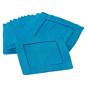 Hemstitched Cocktail Napkin | Azure | Set of 4
