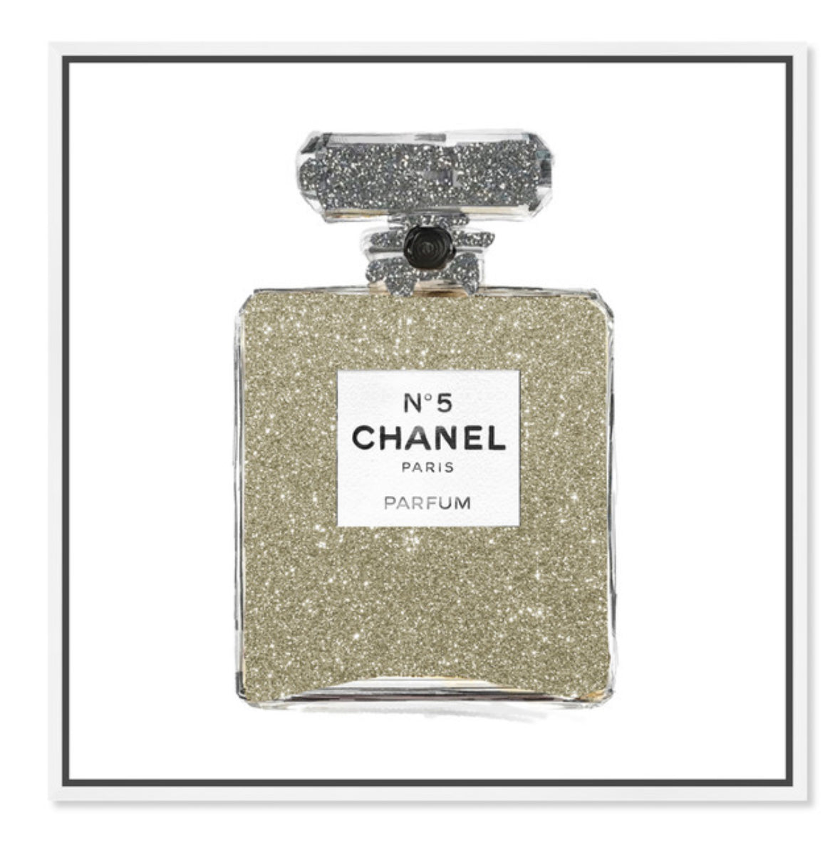 "Champagne Glitter Perfume Bottle Art | 30""x30"" 