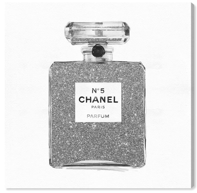 "Silver Glitter Perfume Bottle Art | 24""x24"" 