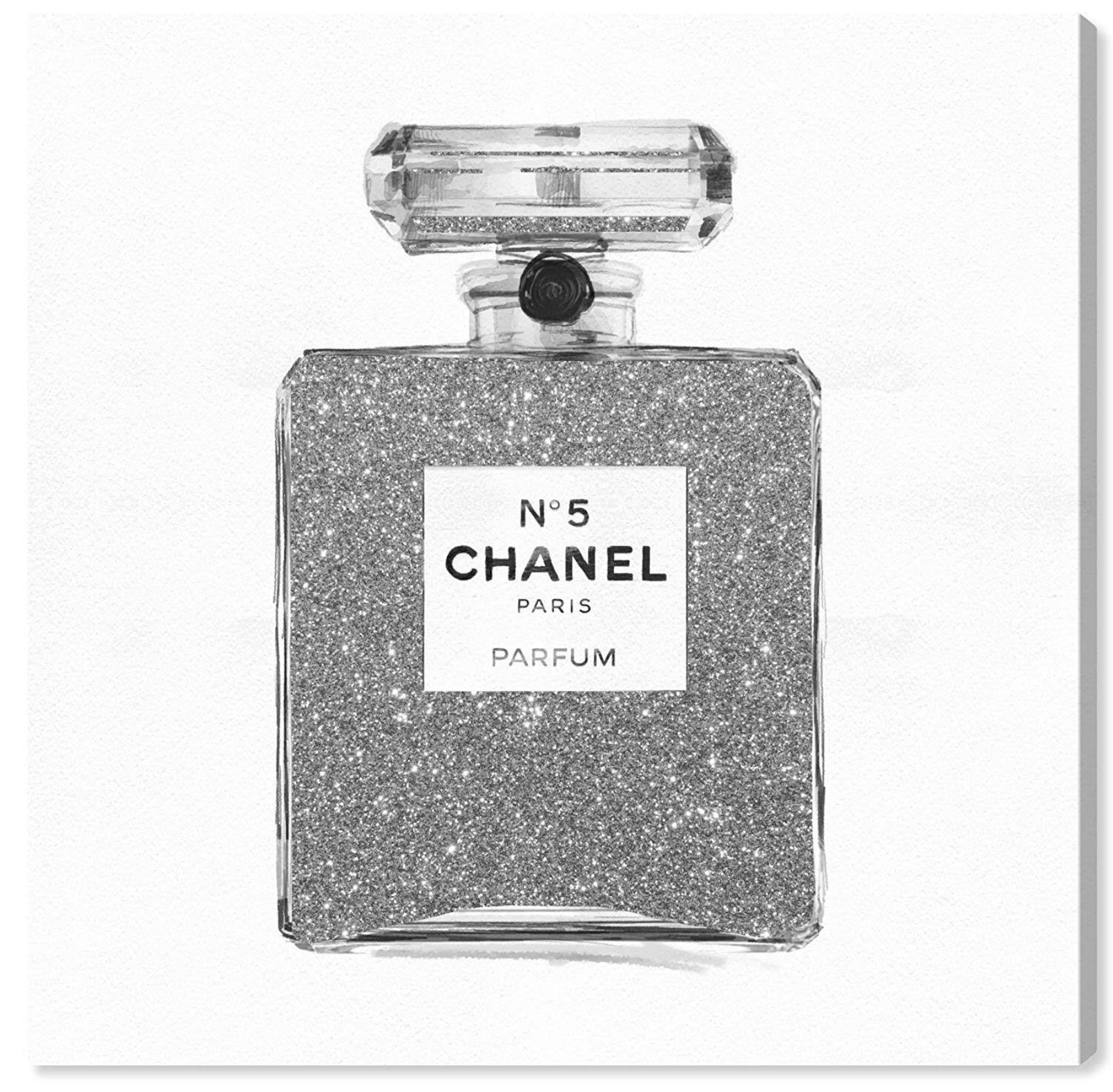 "Silver Glitter Perfume Bottle Art | 30""x30"" 