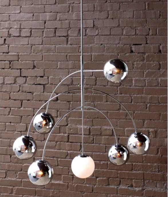 Calder Mid-Century Style Chandelier | Chrome with Mercury & Matte White Glass