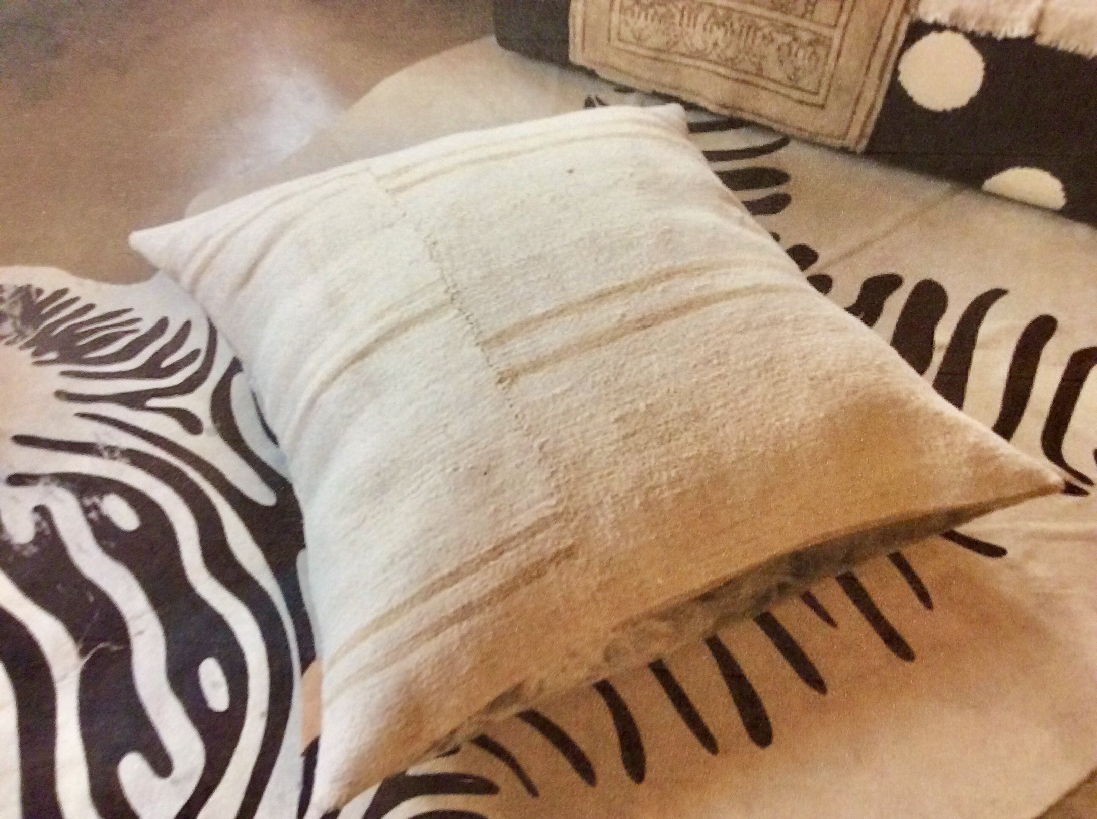 Ivory Mud Cloth Floor Pillow