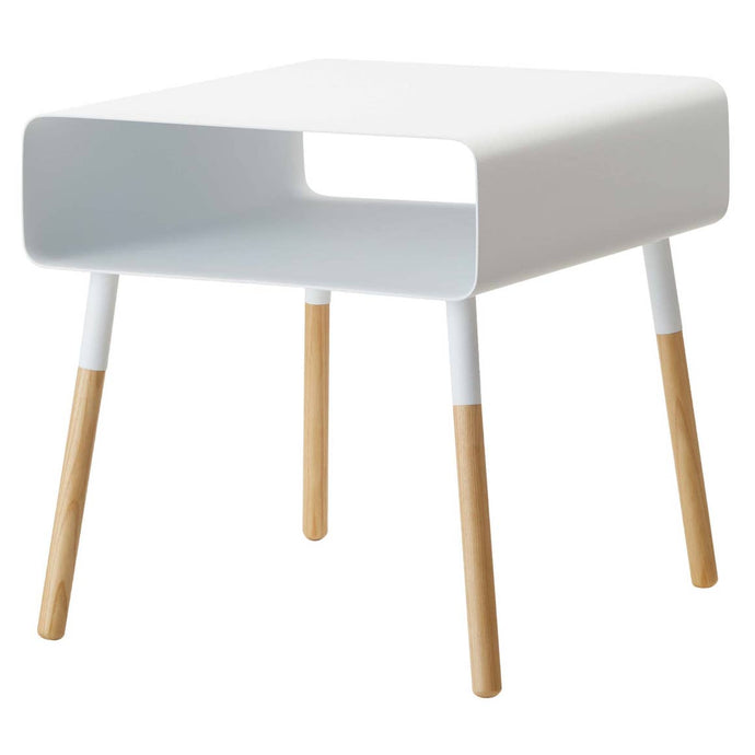 Plain Side Table with Storage Shelf | White