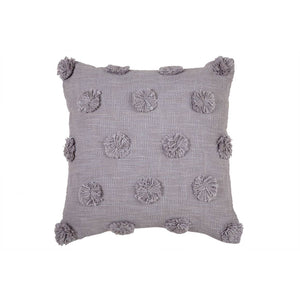 "Mia Pom Pom Cushion | Blue Grey | 17""x17"""
