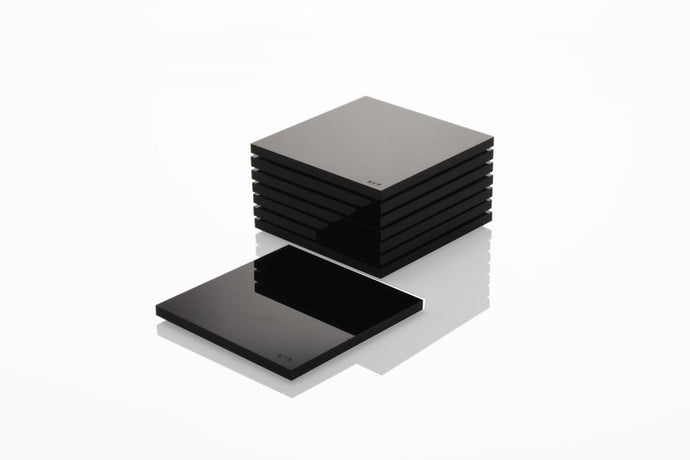 AVF Acrylic Black Coasters | Set of 4 | Limited Edition Signed