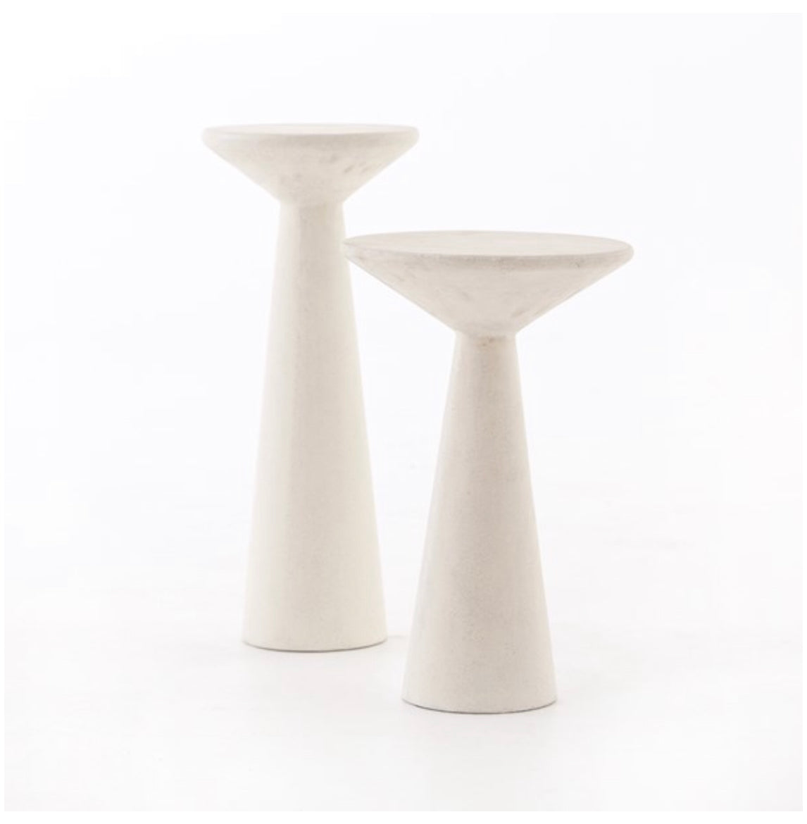 Parchment White Concrete Accent Tables s/2