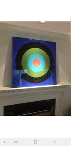 "Stephanie Henderson | Glossy Target Practice on Blue | 24""x24"""