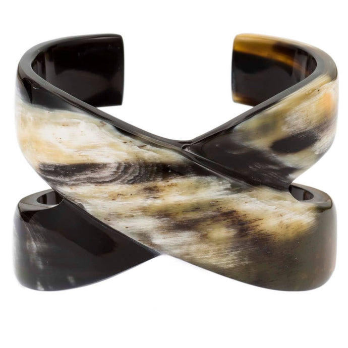 Buffalo Horn X Cross Cuff Bracelet | Natural with Black