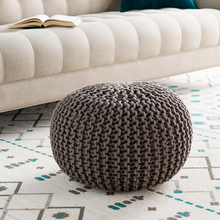 Gray Knitted Pouf