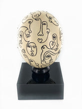 Abstract Lines | Hand Painted Ostrich Egg on Pedestal
