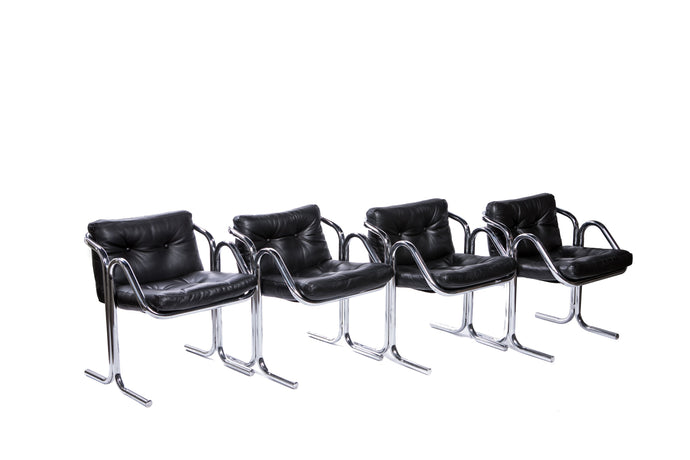 Vintage Black Leather and Chrome Arm Chairs