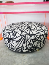 Black and White Fabric Round ottoman