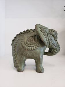 Painted Terracotta Indian Elephant Sculpture