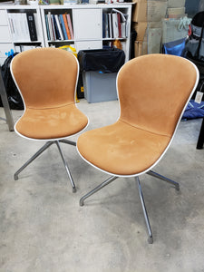 Vintage White Italian Dining Chairs w/ Brown Suede Seats | Set 6