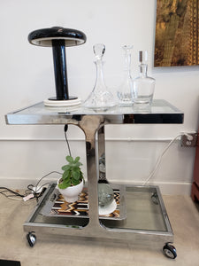 Vintage Chrome & Glass 1960's Bar Cart
